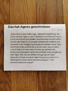 Ferienhaus Eifel Uedelhoven Danksagung Agnes